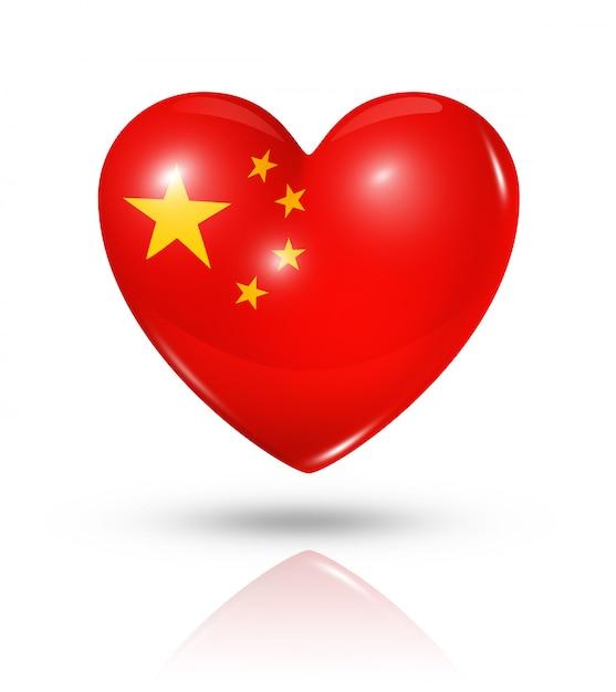 Любовь китай значок сердца флаг Premium Фотографии