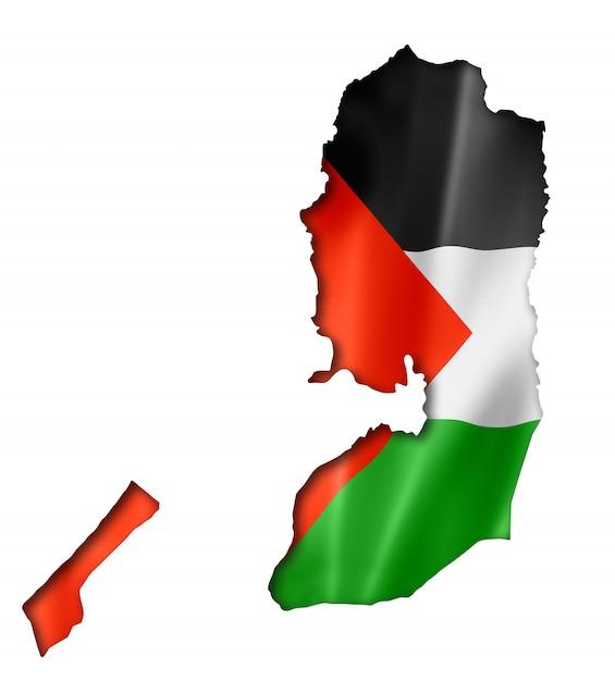 パレスチナの旗の地図 Premium写真