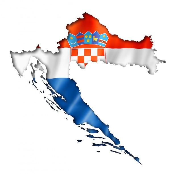 クロアチアの旗マップ Premium写真