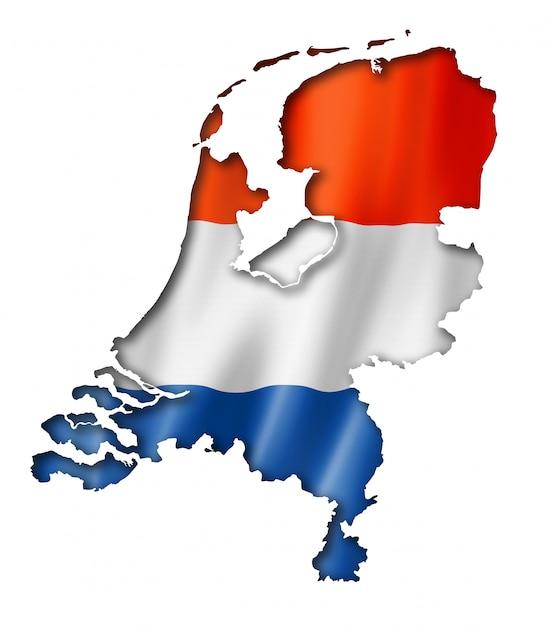 オランダ国旗地図 Premium写真
