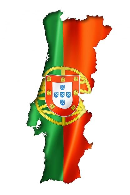 ポルトガル国旗マップ Premium写真