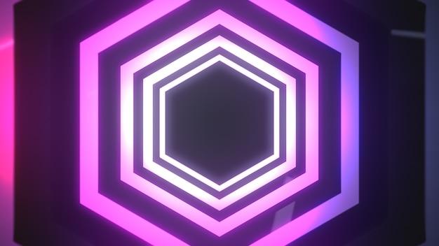 抽象的な六角形ピンクネオンフレーム。 Premium写真