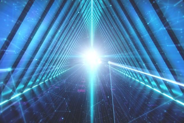青いサイファイトンネル。輝くネオンランプの背景 Premium写真