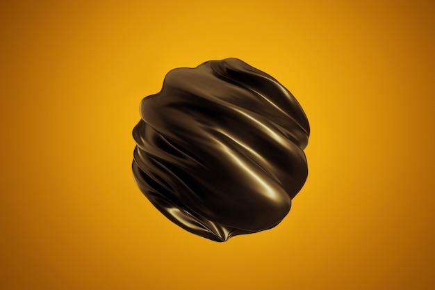 現代の抽象的な形。ツイスト黒球 Premium写真
