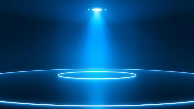 スポットライトの光沢のある床のステージ。輝くネオン円。抽象的なブルーの背景 Premium写真