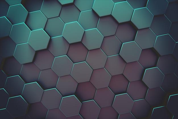 抽象的な六角形のモダンな背景 Premium写真
