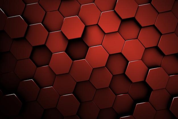 赤い六角形パターン。ハニカムテクスチャ。赤の抽象的な背景。 Premium写真