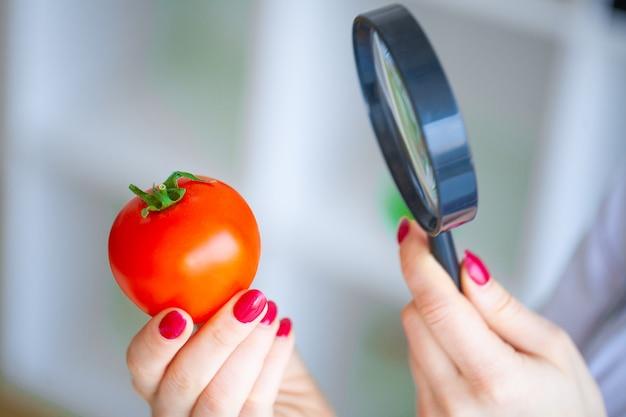 ダイエット。医師栄養士はトマトを保持します。自然食品と健康的なライフスタイルのコンセプト。フィットネスと健康食品のダイエットコンセプト。野菜とバランスの取れた食事。 Premium写真