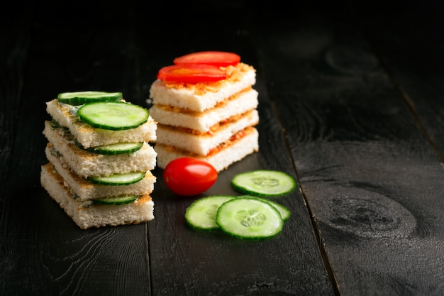 バターと野菜のサンドイッチ Premium写真