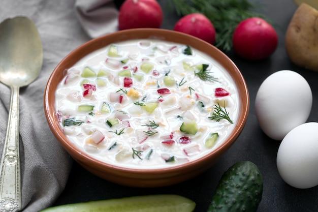 オクローシカ。伝統的なロシアの夏のヨーグルトと野菜の冷たいスープ Premium写真