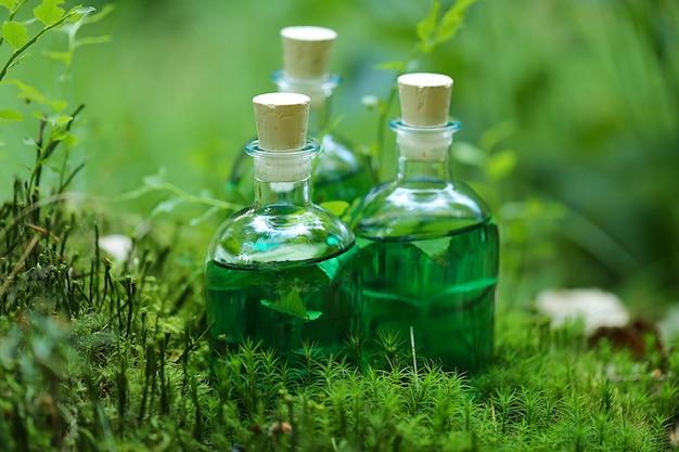 ハーブチンキ。緑のハーブチンキと森の中のシダの葉の瓶。 Premium写真
