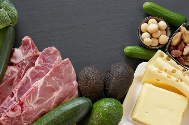 Кето диета. набор продуктов для низкоуглеводной кетогенной диеты Premium Фотографии