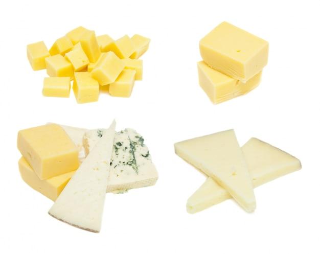 白い背景に、異なるタイプのチーズ 無料写真