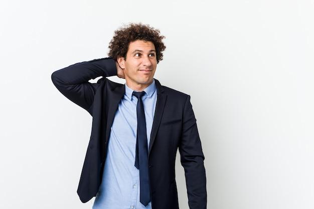 白に対して若いビジネス中の男 Premium写真
