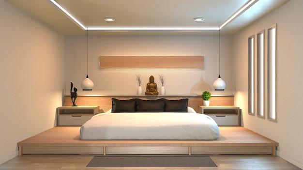 モダンで静かな寝室。禅スタイルのベッドルーム。静かで落ち着いたベッドルーム。 Premium写真