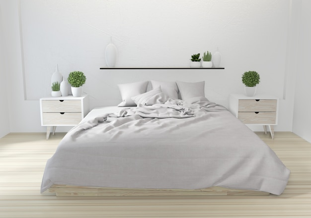 白いベッドルーム日本デザイン Premium写真