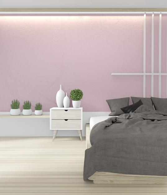 ベッドルームピンク色日本のインテリアデザイン Premium写真