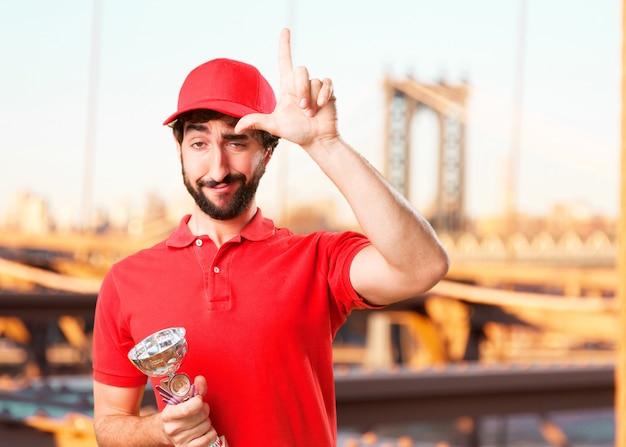 Сумасшедший продавец счастливым выражением Бесплатные Фотографии