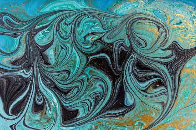 大理石の抽象的な背景。ブルーマーブリングアートワークのテクスチャです。 Premium写真