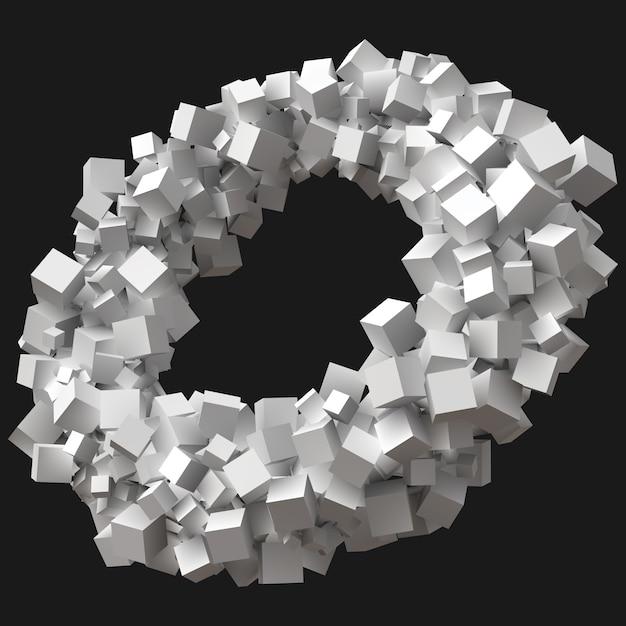 円軌道で回転するランダムサイズの立方体 Premium写真