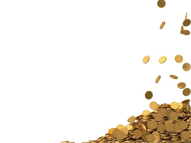 ドル記号と丸い黄金のコイン。 Premium写真