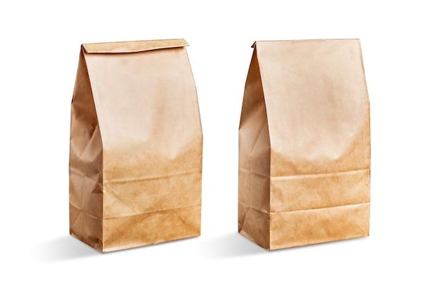 白い背景ブラウン紙袋 無料写真