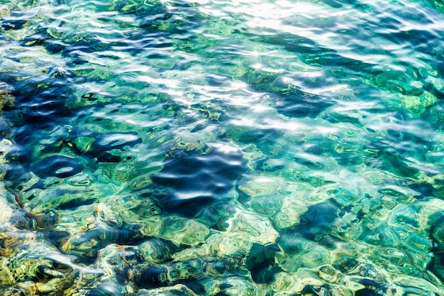 太陽のまぶしさで海水のターコイズブルーの表面。バックグラウンド。 Premium写真