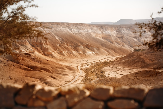 ネゲブ砂漠の山からの眺め Premium写真