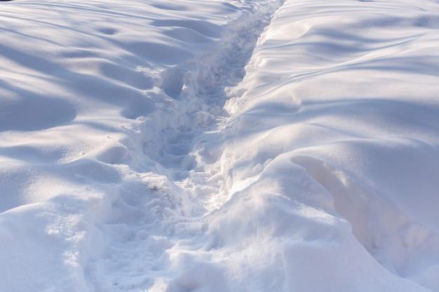 白い雪の中の道。光と影の遊び。 Premium写真