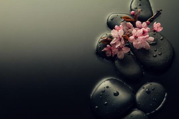 美しいピンクのスパの花スパのホットストーン水のぬれた背景。側面構成。スペースをコピーします。スパコンセプト。暗い背景。 無料写真