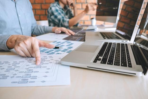 プロの開発者のプログラマー協力会議とウェブサイトでのブレインストーミングとプログラミングのチーム。ソフトウェアとコーディング技術を使用し、コードとデータベースを記述 Premium写真