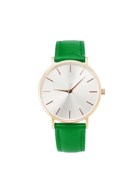 Классические женские золотые часы с белым циферблатом Premium Фотографии