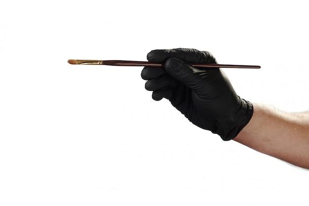 Жест рукой показывает, хорошая реклама для охранного агентства. держа кисть. Premium Фотографии