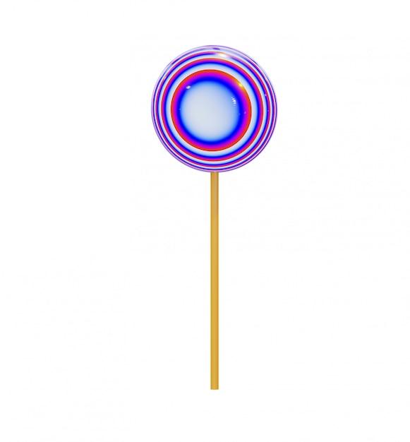 木の棒、色とりどりの抽象的なスパイラルに丸いロリポップの形のキャラメルキャンデー。 Premium写真