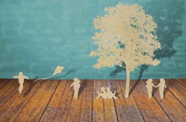 Силуэты деревьев и людей на леса Бесплатные Фотографии