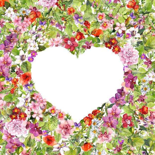 花のボーダー-ハート形。夏の花、草原のハーブ、野草。バレンタインデーの水彩画 Premium写真