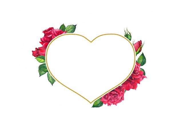 ハート形のゴールデンフレームと赤いバラ。水彩カード Premium写真