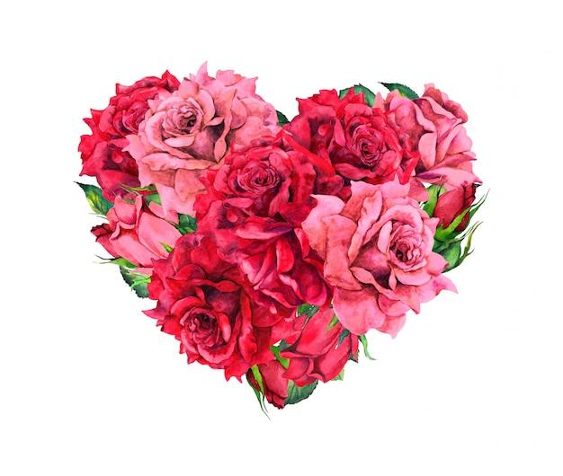 赤いバラの花と花の中心。バレンタインデーの水彩画 Premium写真