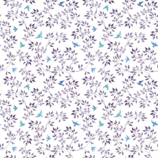 シームレスなエレガントな壁紙-手描きの青い葉と水彩の鳥。アクアレルアート Premium写真