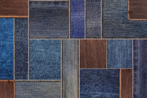 Джинсовые джинсы с кожаной биркой текстуры фона Premium Фотографии