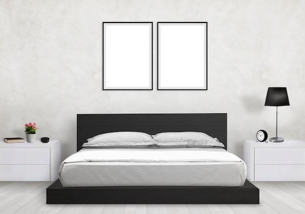 モダンなインテリアの寝室 Premium写真