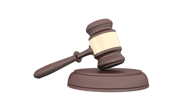 白い背景の上の裁判官のハンマー Premium写真
