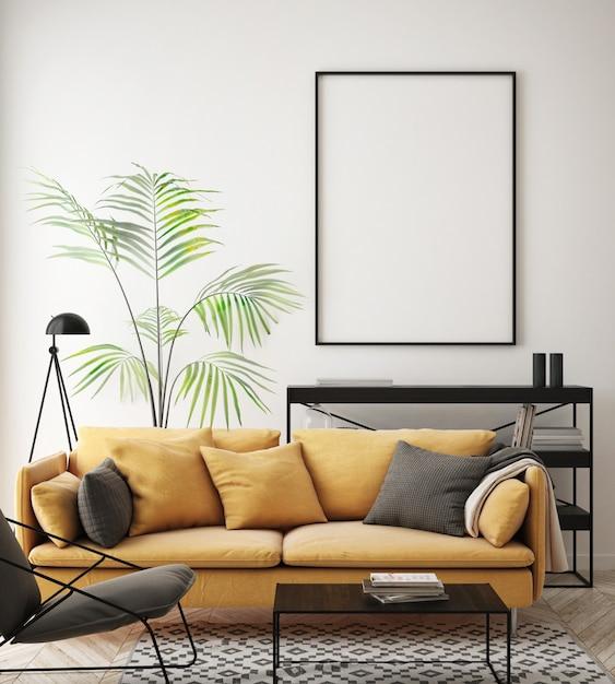 家具、ソファ、空白のフォトフレーム付きのインテリアのリビングルーム Premium写真