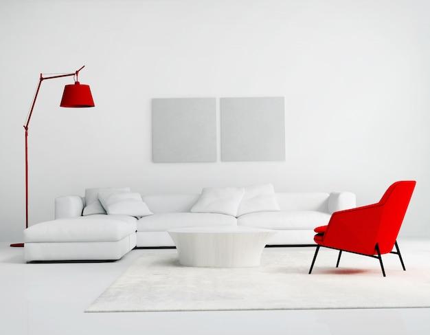 現代的な現代の壁システムのリビングルーム Premium写真