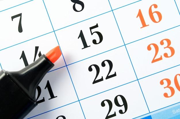 マーカーとカレンダー Premium写真