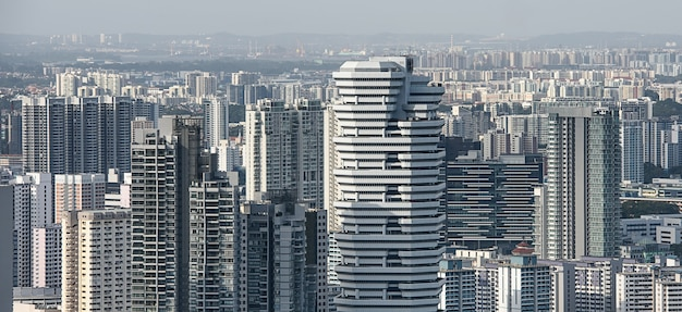 シンガポールの住宅街の空撮 Premium写真