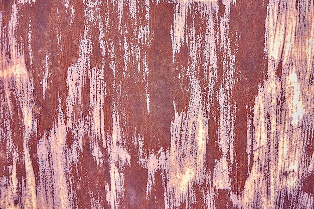 古い苦しめられた茶色のテラコッタ銅さびたスペースとラフな質感の多色介在物。染色された勾配の粗いザラザラした表面。壁紙 Premium写真