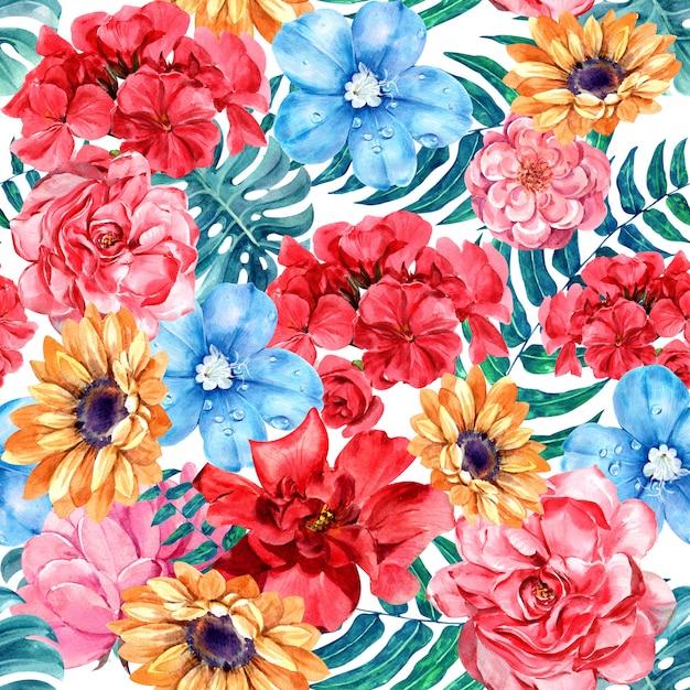花の水彩画のシームレスなパターン。 Premium写真