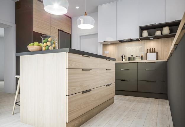 Новая стильная кухня Premium Фотографии