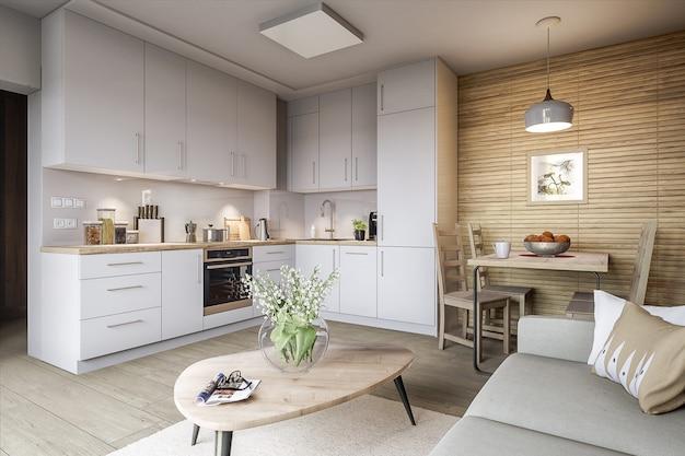 Стильная кухня и гостиная Premium Фотографии